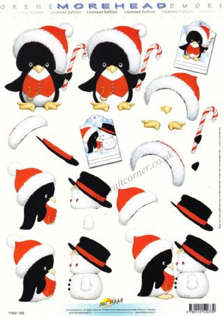 Morehead Christmas Penguins & Snowmen 3D Decoupage Sheet